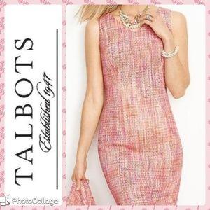 Talbots pink tweed sheath dress